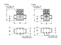 Furon® HPV Diaphragm Valve, Pneumatically Actuated, 2 & 3-Way-2