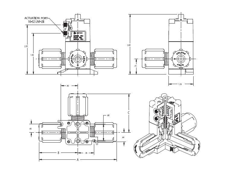 Hpv3 s30044 furon hpv diaphragm valve pneumatically actuated 3 way 2 ccuart Gallery